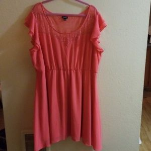 Coral dress with lace chest